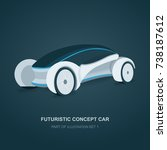 future concept car illustration.   Shutterstock .eps vector #738187612