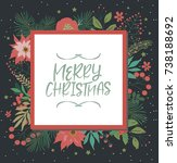 merry christmas greeting card.... | Shutterstock .eps vector #738188692