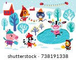christmas landscape with cute... | Shutterstock .eps vector #738191338
