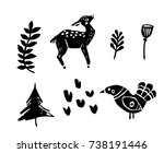 set of hand drawn vector forest ... | Shutterstock .eps vector #738191446