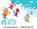 christmas landscape with cute... | Shutterstock .eps vector #738193672