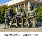 Small photo of LIVADIA, RUSSIA - Sep 9, 2016: Soviet leader Stalin with Churchill and Roosevelt. Statue by Zurab Tsereteli in the Livadia Palace, Crimea, Russia. The famous Yalta Conference was held there in 1945.