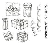 vector hand drawn set of... | Shutterstock .eps vector #738200692