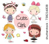 four cute cartoon girls on a... | Shutterstock .eps vector #738216838