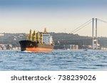 large cargo ship tanker in the...   Shutterstock . vector #738239026