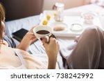 the magic of morning ritual... | Shutterstock . vector #738242992