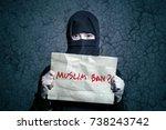 muslim girl in black hijab... | Shutterstock . vector #738243742