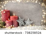 three red candles on gray... | Shutterstock . vector #738258526