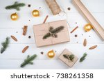 christmas background with gift... | Shutterstock . vector #738261358