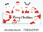 christmas card with santa claus.... | Shutterstock .eps vector #738262945