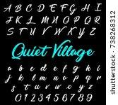 hand drawn abc script font....   Shutterstock .eps vector #738268312