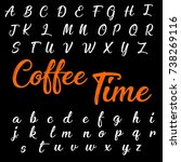 hand drawn abc script font.... | Shutterstock .eps vector #738269116