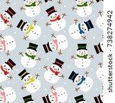 snowman seamless pattern...