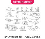 linear set of nature icons.... | Shutterstock .eps vector #738282466