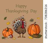 happy thanksgiving. set of... | Shutterstock .eps vector #738286216