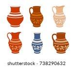 set of ceramic crockery.... | Shutterstock .eps vector #738290632