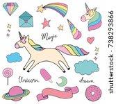 unicorn. set of colorful vector ... | Shutterstock .eps vector #738293866