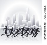 Runners running in an urban city with a cityscape skyline in the background. - stock vector