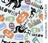 awesome halloween colorful... | Shutterstock .eps vector #738297325