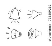 bell and horns icons set | Shutterstock .eps vector #738309292