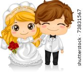 Illustration of Kids Playing Bride and Groom - stock vector