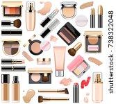 vector face makeup cosmetics | Shutterstock .eps vector #738322048