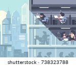 work in office. people working... | Shutterstock .eps vector #738323788