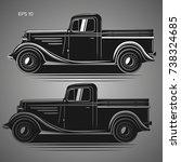 Old Retro Pickup Truck Vector...