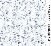 cute halloween ghosts seamless... | Shutterstock .eps vector #738335386
