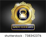 gold badge or emblem with... | Shutterstock .eps vector #738342376