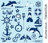 sea travel icon set. nautical... | Shutterstock .eps vector #738343528