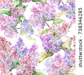 seamless texture with flowering ... | Shutterstock . vector #738346285