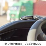 on the road  new car  keys... | Shutterstock . vector #738348202