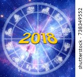 astrological new year 2018 | Shutterstock . vector #738349552