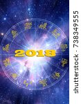 astrological new year 2018 | Shutterstock . vector #738349555