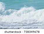 sea surf wave on the beach ... | Shutterstock . vector #738349678