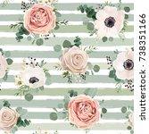 Stock vector seamless pattern vector floral watercolor design garden powder white pink anemone flower silver 738351166