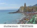 italy   liguria   camogli beach ... | Shutterstock . vector #738355606