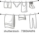 many clothes hang in rope | Shutterstock .eps vector #738364696