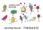 a cartoon fruit character design   Shutterstock .eps vector #738366325