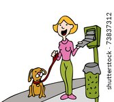 Stock photo an image of a woman using a pet waste bag stand while walking her dog 73837312