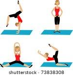 yoga poses | Shutterstock .eps vector #73838308