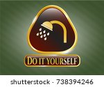 gold shiny badge with shower... | Shutterstock .eps vector #738394246