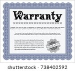blue formal warranty... | Shutterstock .eps vector #738402592