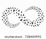 silhouette of a flock of birds. ... | Shutterstock .eps vector #738404992