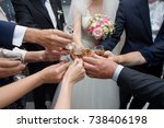 people clinking glasses at... | Shutterstock . vector #738406198
