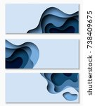 horizontal banners with 3d... | Shutterstock .eps vector #738409675