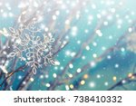 abstract of snowflakes and... | Shutterstock . vector #738410332