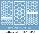 decorative panels set for laser ... | Shutterstock .eps vector #738415366