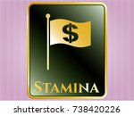 gold shiny badge with flag... | Shutterstock .eps vector #738420226